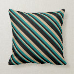 [ Thumbnail: Teal, Tan, and Black Striped Pattern Throw Pillow ]
