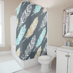 Teal Tan Boho Tribal Feathers Shower Curtain