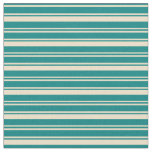 [ Thumbnail: Teal & Tan Colored Lines Fabric ]