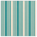 [ Thumbnail: Teal & Tan Colored Stripes/Lines Pattern Fabric ]