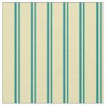 [ Thumbnail: Teal & Tan Pattern of Stripes Fabric ]