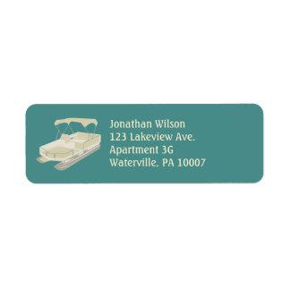 Teal & Tan Pontoon Boat Return Address Labels