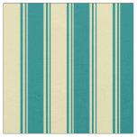 [ Thumbnail: Teal & Tan Stripes Fabric ]