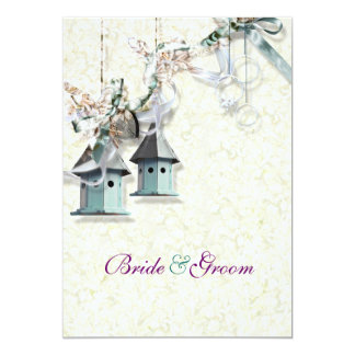 Teal taupe bird floral country card