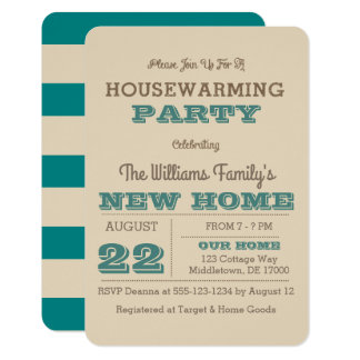 Teal & Taupe Stripe Housewarming Invitation 3x5