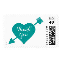 Teal Thank You Heart Love Postage