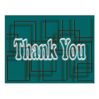 Teal Thank You Postcard- change background color Postcard