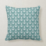 Teal throw pillow with nautical anchor pattern