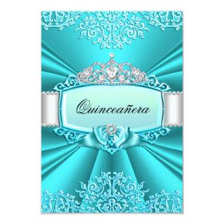Teal Tiara & Damask Quinceanera Invitation