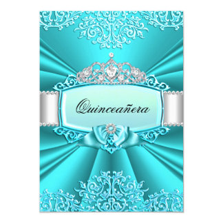 Teal Tiara Damask Quinceanera Party Card