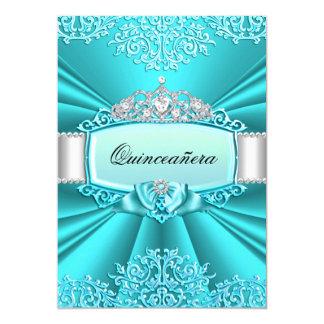 Teal Tiara Damask Quinceanera Party Card