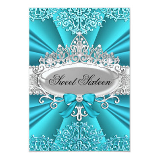 Teal Tiara & Damask Sweet Sixteen Invitation