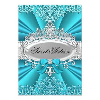 Teal Tiara & Damask Sweet Sixteen Invitation