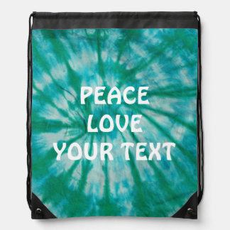 Teal Tie Dye Customized Drawstring Backpack