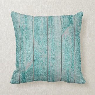 Teal Tiffany Aqua Glam Metallic Wood Cottage Home Throw Pillow