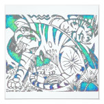 Teal Tiger In Cubist Style Custom Invites