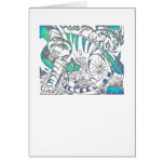 Teal Tiger In Cubist Style Greeting Card