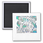 Teal Tiger In Cubist Style Magnets