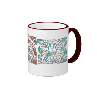 Teal Tiger In Cubist Style Ringer Coffee Mug