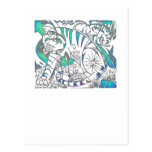Teal Tiger In Cubist Style Post Card