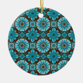 Teal Tile Christmas Ornaments