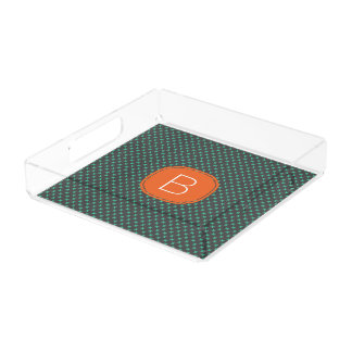 Teal Tiny X Pattern on Gray with Orange Monogram Square Serving Trays