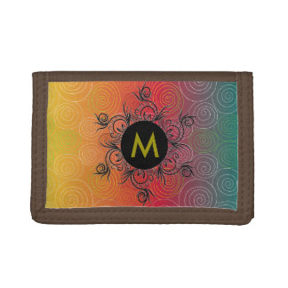 Teal to green, Monogram, Tri-fold Wallets