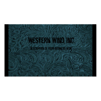 Teal Tooled Leather Business Card