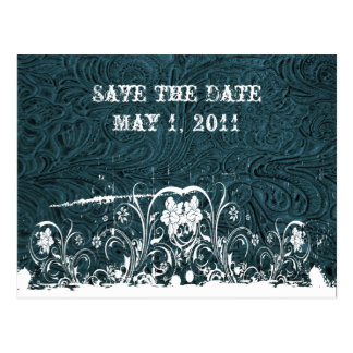Teal Tooled Leather Save the Date Postcard