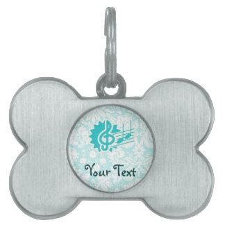 Teal Treble Clef Pet Name Tag