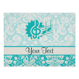 Teal Treble Clef Poster