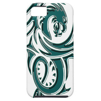 Teal Tribal Dragon iPhone 5 Cases