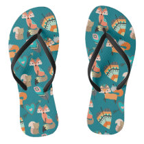 Teal Tribal Fox Pattern Flip Flops
