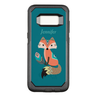 Teal Tribal Fox with Feather OtterBox Commuter Samsung Galaxy S8 Case