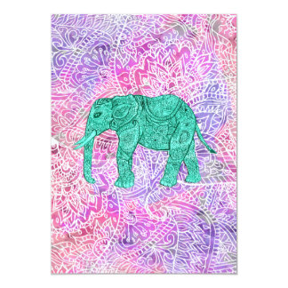 Teal Tribal Paisley Elephant Purple Henna Pattern Card