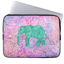 Teal Tribal Paisley Elephant Purple Henna Pattern Computer Sleeve