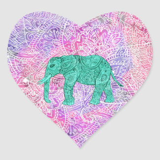 Teal Tribal Paisley Elephant Purple Henna Pattern Heart Sticker