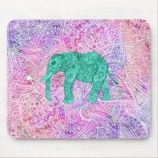 Teal Tribal Paisley Elephant Purple Henna Pattern Mouse Pad