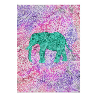 Teal Tribal Paisley Elephant Purple Henna Pattern Poster