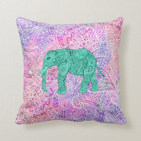 Teal Tribal Paisley Elephant Purple Henna Pattern Throw Pillow Zazzle
