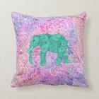 Teal Tribal Paisley Elephant Purple Henna Pattern Throw Pillow