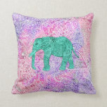 "Teal Tribal Paisley Elephant Purple Henna Pattern Throw Pillow<br><div class=""desc"">Teal Tribal Paisley Elephant Purple Henna Pattern. A cool, ethnic turquoise and teal sketch of a wild elephant with abstract floral paisley pattern on a orchid purple and pink watercolor colorful tribal henna pattern with Boho Chic fashion colors, in pink, purple, white. Perfect gift for the wild animal lovers, fan...</div>"