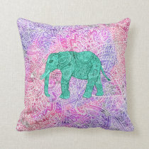 Teal Tribal Paisley Elephant Purple Henna Pattern Throw Pillow