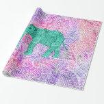 Teal Tribal Paisley Elephant Purple Henna Pattern Gift Wrap Paper