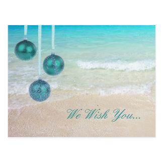 Teal Tropical Christmas Postcard Greetings