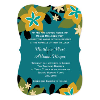 Teal Tropical Floral Wedding Custom Announcements