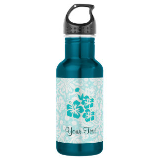 Teal Tropical Flowers 18oz Water Bottle