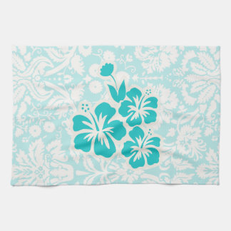 Teal Tropical Flowers Towels