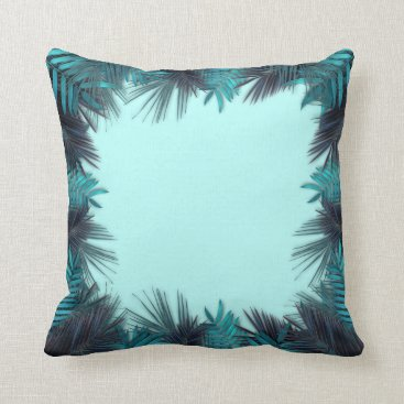 sterlingnights Teal Tropical Foliage palms turquoise Throw Pillow