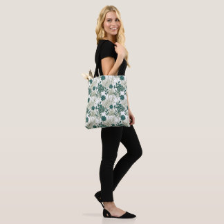 Teal Tropical Monstera Botanical White Leafs MInt Tote Bag